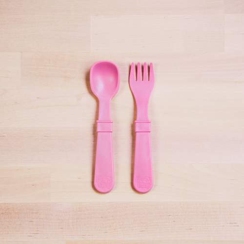 Toddler Utensil Pink Forks and Spoons Pair