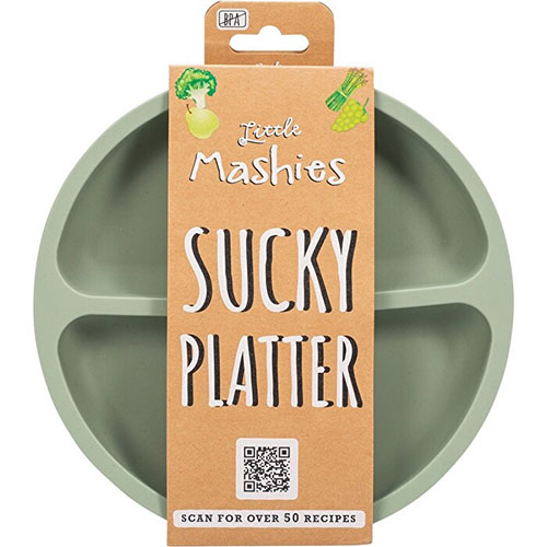 Silicone Sucky Platter Plate Dusty Olive - Little Mashies